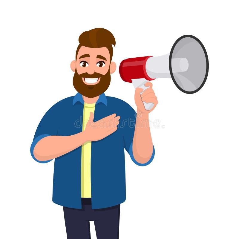 Hombre joven contento que sostiene un megáfono o un altavoz y que lleva a cabo la mano en la sensación del pecho agradecida, grat libre illustration