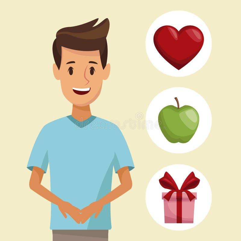Hombre joven cuerpo colorido del cartel del medio e icono de los regalos sanos de la comida ilustración del vector
