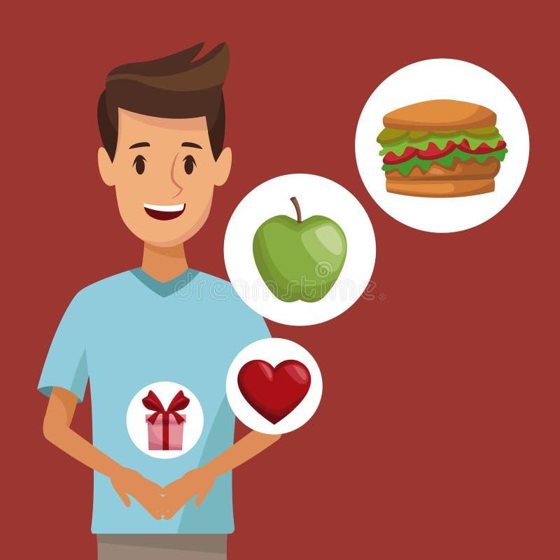 Hombre joven cuerpo colorido del cartel del medio e icono de los regalos sanos de la comida de los elementos stock de ilustración
