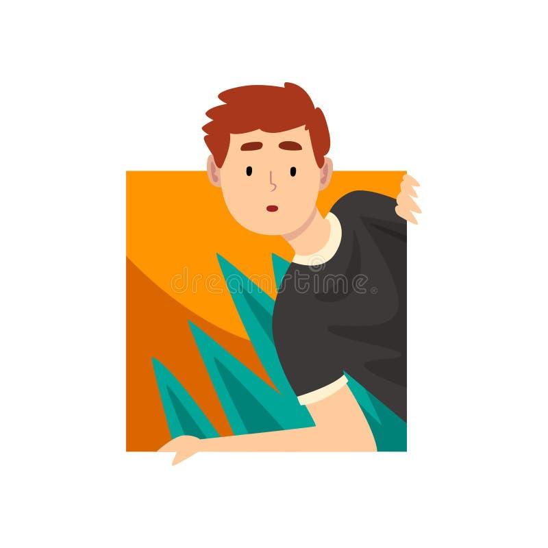 Hombre joven curioso que mira hacia fuera el ejemplo cuadrado del vector de la historieta de la forma stock de ilustración