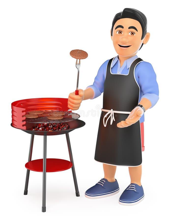 hombre joven 3D en pantalones cortos que cocina en una barbacoa ilustración del vector