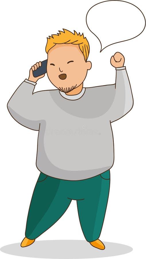 Hombre joven de aspecto asiático que habla en el teléfono stock de ilustración