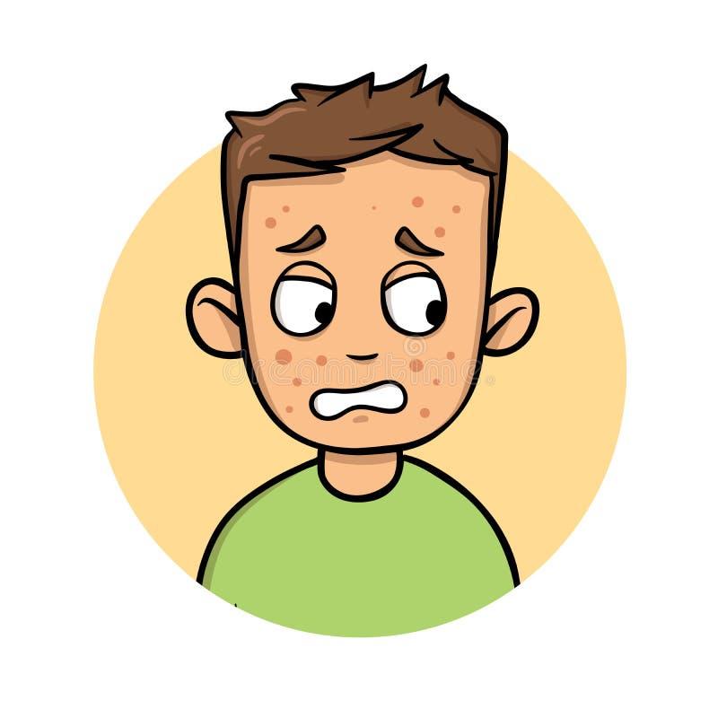Hombre joven de la historieta con los puntos rojos en su cara Icono del diseño de la historieta Ejemplo plano del vector Aislado  libre illustration