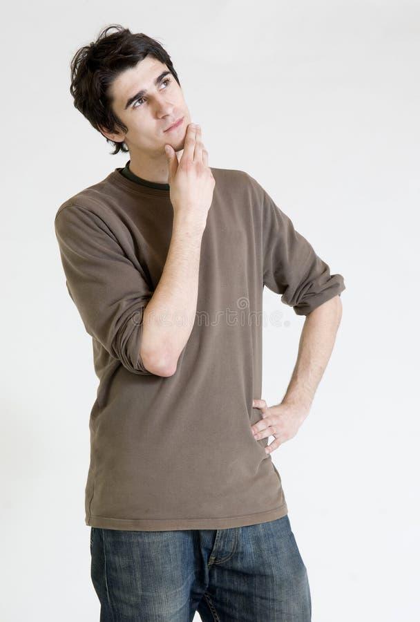 Hombre joven de pensamiento imagen de archivo