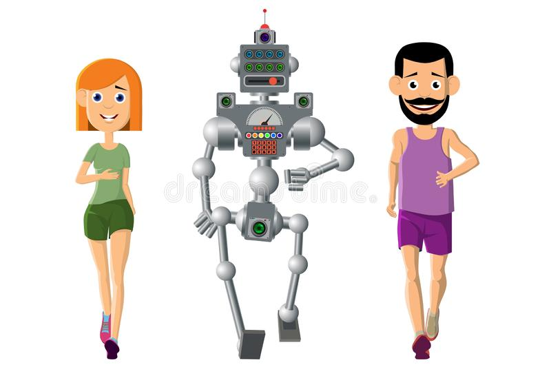 Hombre joven, deportes del juego de la mujer con un robot stock de ilustración