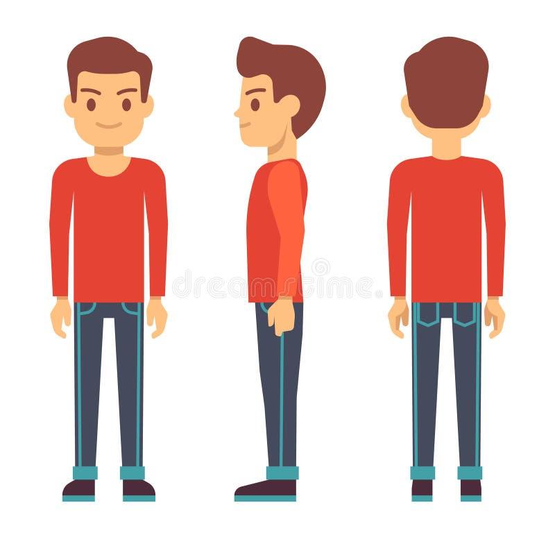 Hombre joven derecho, carácter del muchacho en el frente, parte posterior, vista lateral en sistema del vector de la ropa casual ilustración del vector
