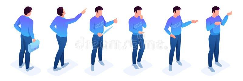 Hombre joven determinado isométrico, un suéter brillante stock de ilustración