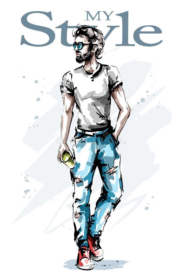 Hombre joven dibujado mano del handaome con la barba Hombre elegante elegante Individuo de la manera libre illustration