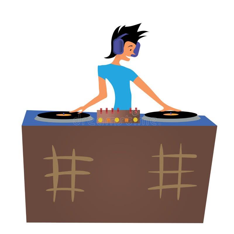 Hombre joven DJ que juega música detrás de las cubiertas Ilustración del vector, aislada en blanco stock de ilustración