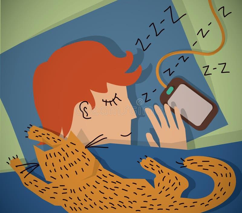 Hombre joven durmiente con color del gato stock de ilustración