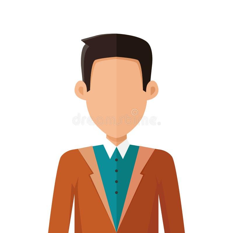 Hombre joven elegante Avatar o Userpic en diseño plano libre illustration