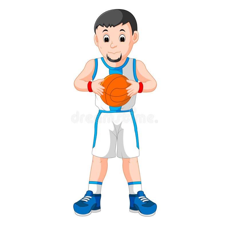 Hombre joven enérgico que juega a baloncesto ilustración del vector