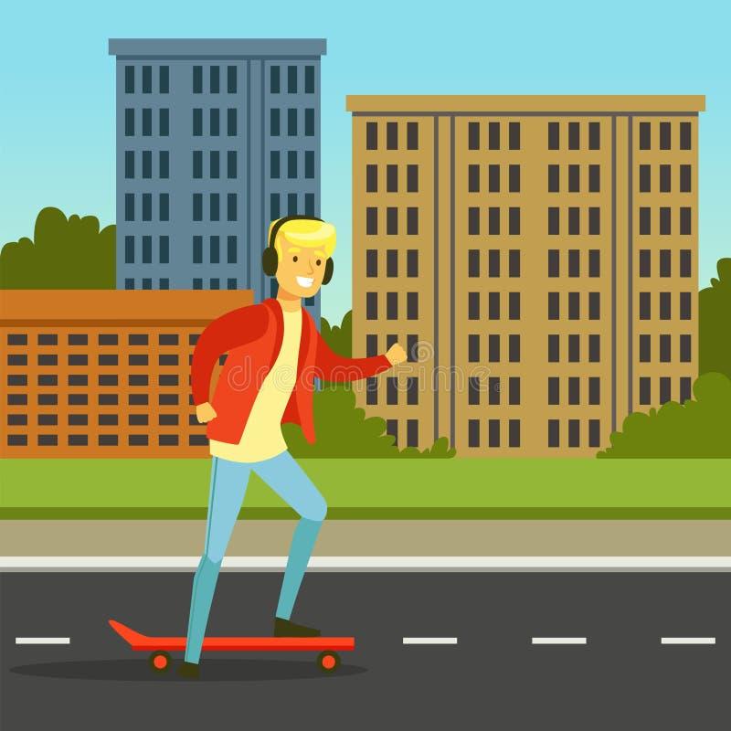 Hombre joven en auriculares que anda en monopatín en una calle de la ciudad, ejemplo plano del vector ilustración del vector