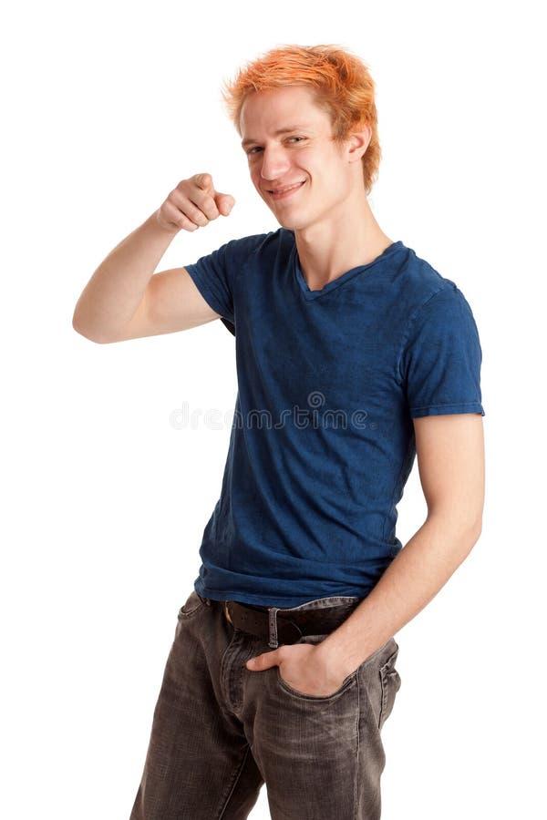 Hombre joven en camisa azul imagen de archivo