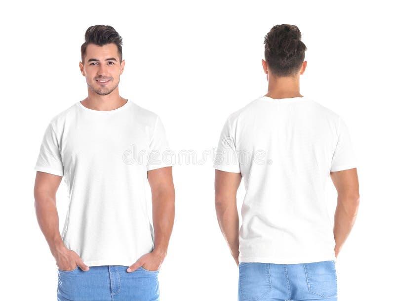 Hombre joven en camiseta en blanco en el fondo blanco fotografía de archivo libre de regalías