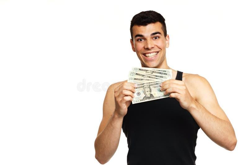 Download Hombre Joven En Camiseta Negra Con El Dinero Imagen de archivo - Imagen de lazo, varón: 41921827