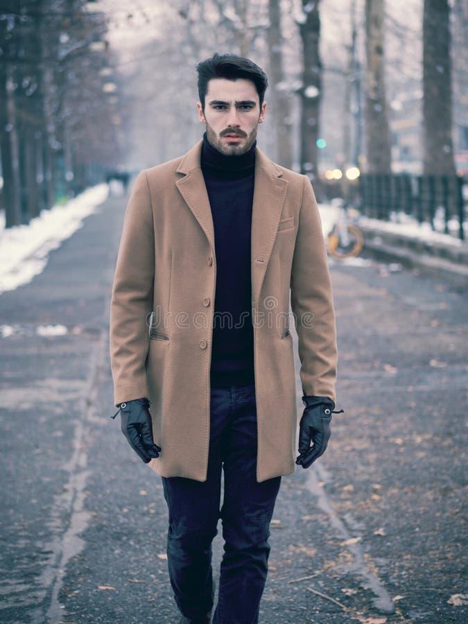 Hombre joven en ciudad nevosa foto de archivo