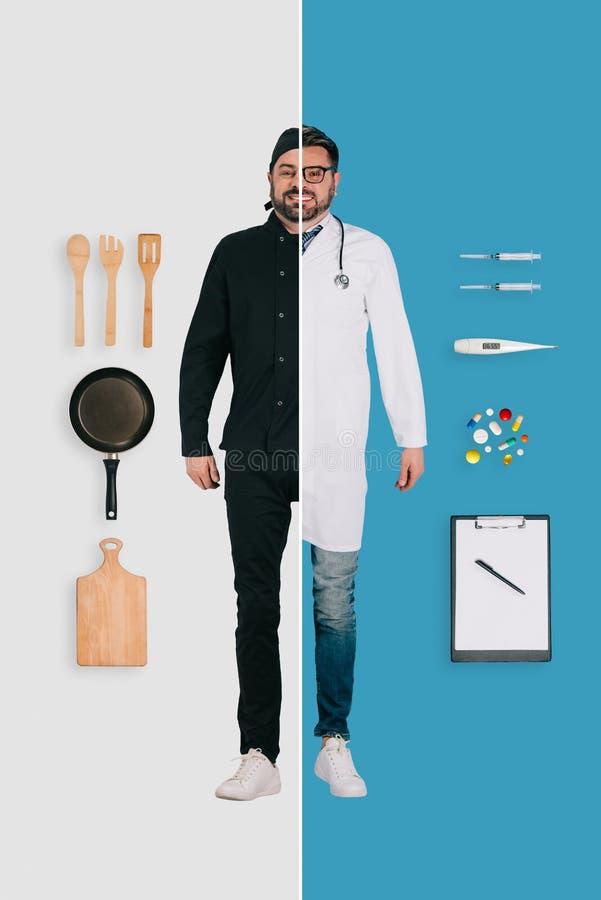 hombre joven en dos empleos del cocinero y del doctor en diferente fotografía de archivo libre de regalías