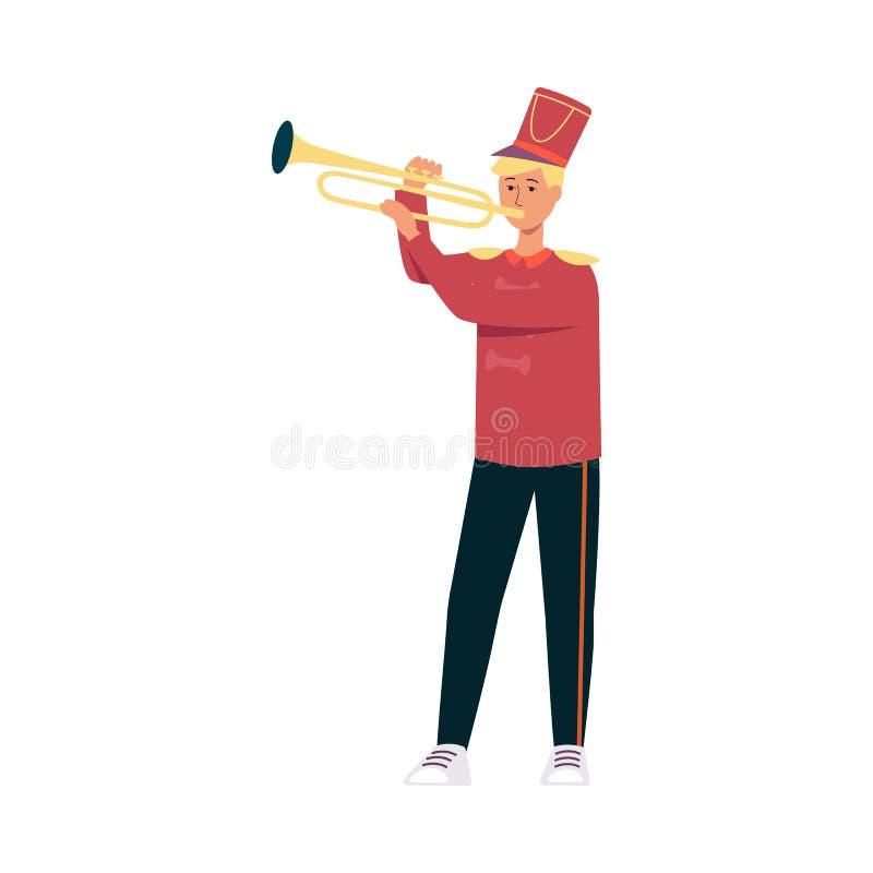 Hombre joven en el traje festivo del desfile que juega música con la trompeta en estilo plano ilustración del vector