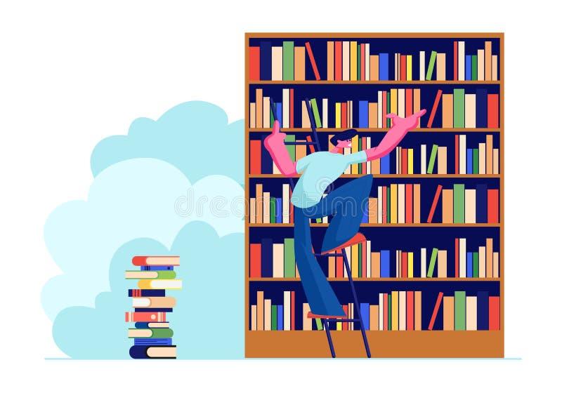 Hombre joven en la biblioteca que busca los libros en los estantes que se colocan en escalera El estudiante Prepare para el exame stock de ilustración