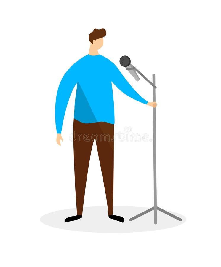 Hombre joven en la camisa azul que se coloca con el micr?fono stock de ilustración