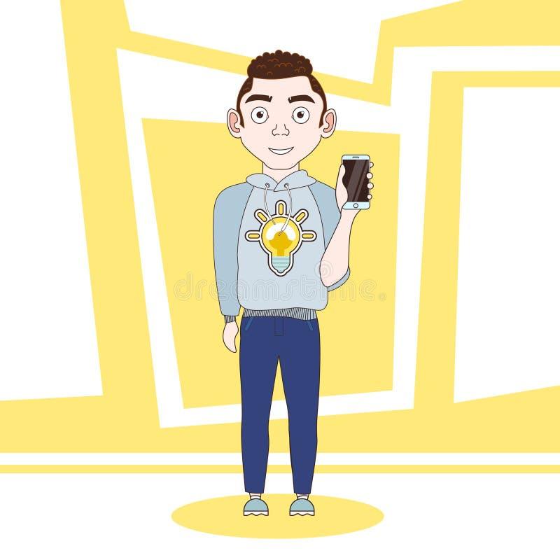 Hombre joven en personaje de dibujos animados elegante del teléfono de la célula de tenencia de la ropa casual libre illustration