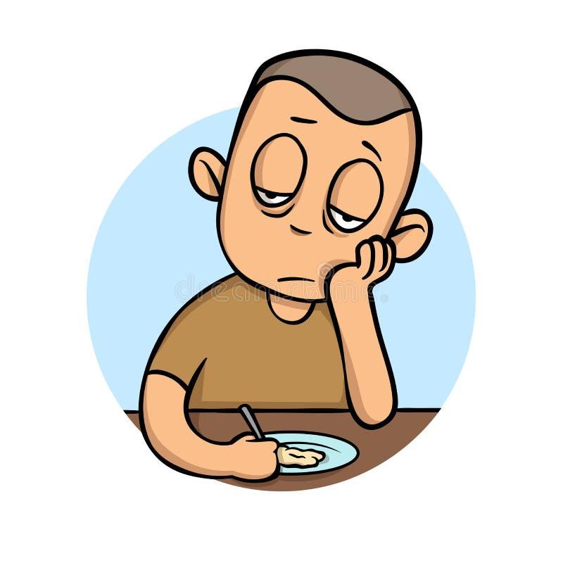 Hombre joven enfermo sin apetito delante de la comida Ejemplo plano del vector Aislado en el fondo blanco ilustración del vector