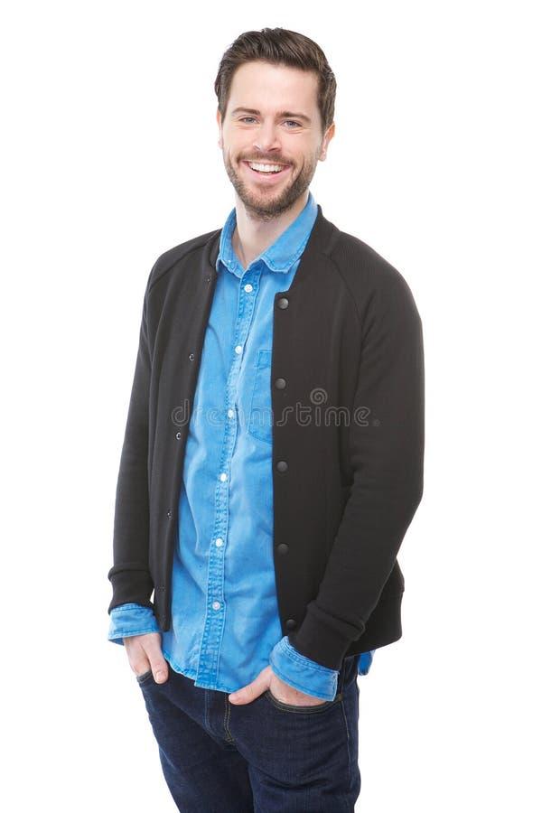 Hombre joven feliz con la sonrisa de la barba fotografía de archivo