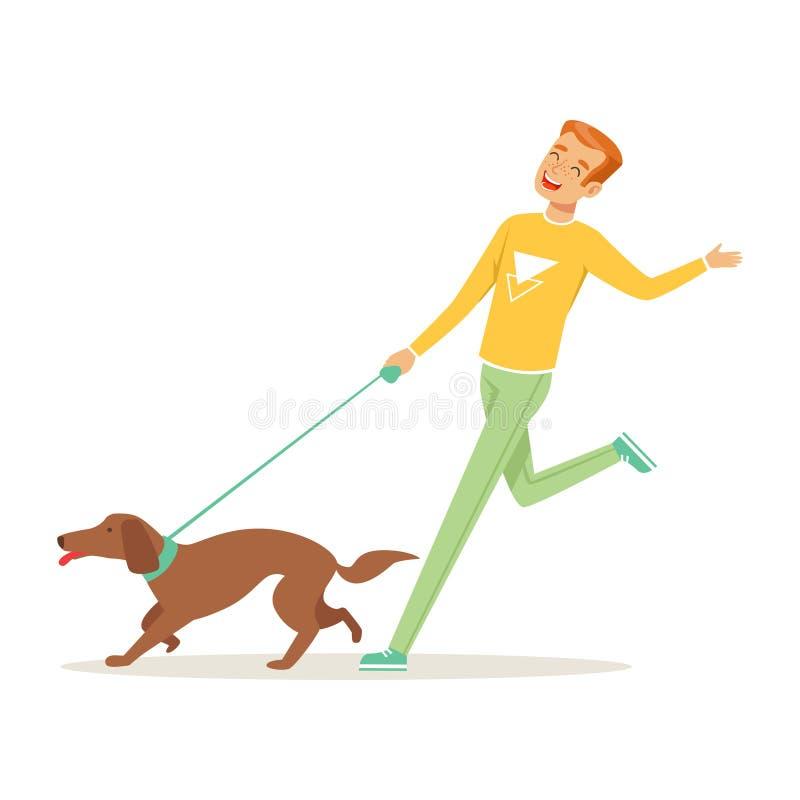 Hombre joven feliz que corre con el perro al aire libre Mejores amigos humanos de s Forma de vida sana Animal doméstico Varón de  libre illustration