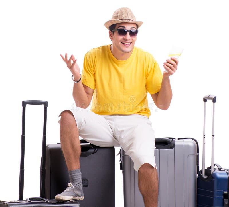 Hombre joven feliz que va el las vacaciones de verano aisladas en blanco imagenes de archivo