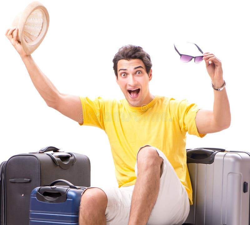 Hombre joven feliz que va el las vacaciones de verano aisladas en blanco fotografía de archivo libre de regalías