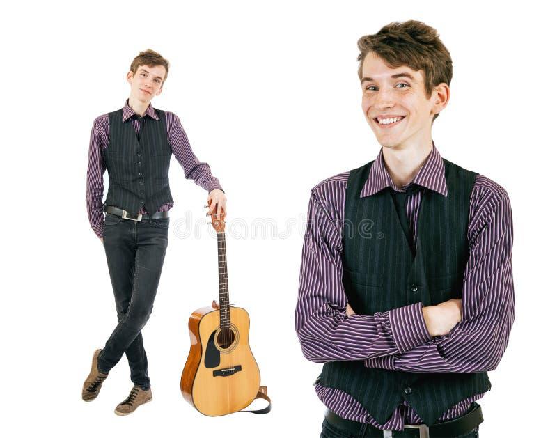 Hombre joven hermoso de dos retratos imagen de archivo