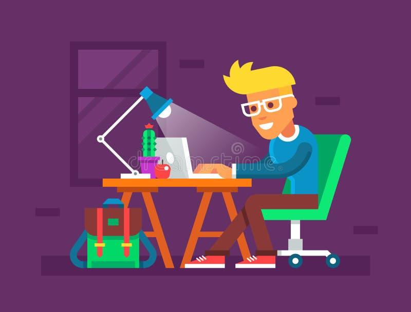 Hombre joven hermoso que trabaja en su ordenador portátil Ilustración creativa del vector ilustración del vector