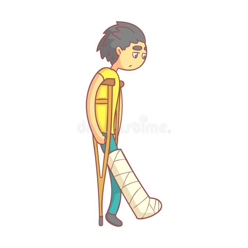 Hombre joven infeliz con el pelo oscuro en las muletas con la pierna quebrada Personaje de dibujos animados colorido ilustración del vector