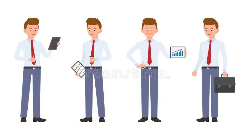 Hombre joven, lindo, feliz de la oficina en el desgaste formal que se coloca con las notas y café, tableta, cartera stock de ilustración