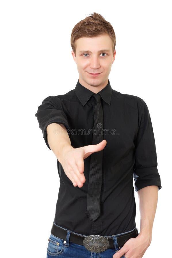 Hombre joven listo para fijar un reparto foto de archivo