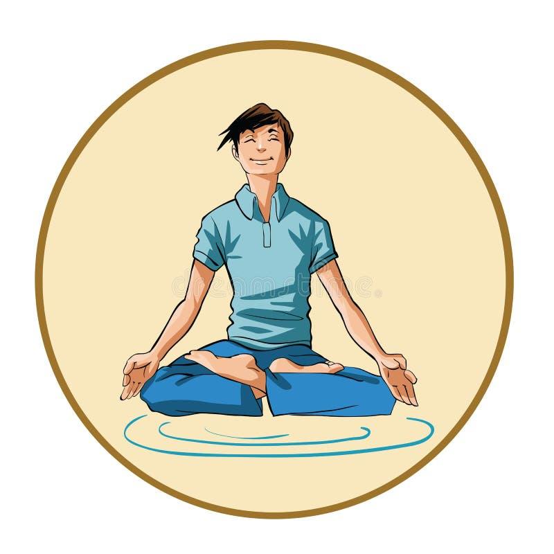 Hombre joven meditating stock de ilustración