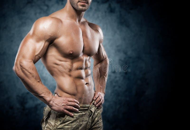 Hombre joven muscular en estudio en fondo oscuro imágenes de archivo libres de regalías