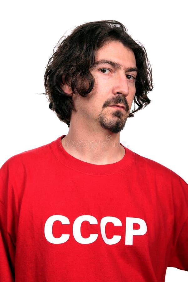 Hombre joven ocasional con la camisa roja fotos de archivo