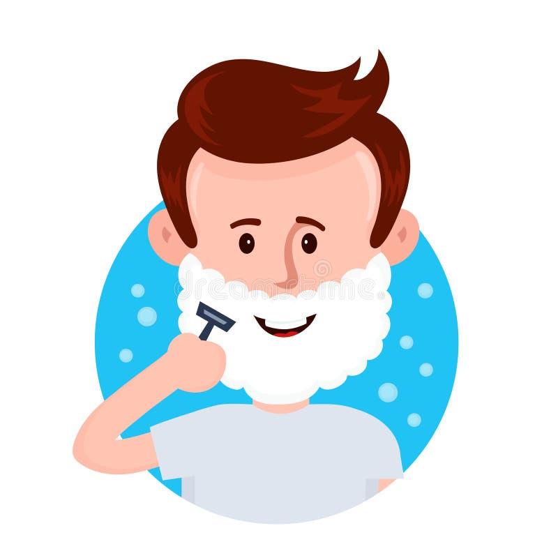 Hombre joven que afeita la cara con espuma Vector ilustración del vector