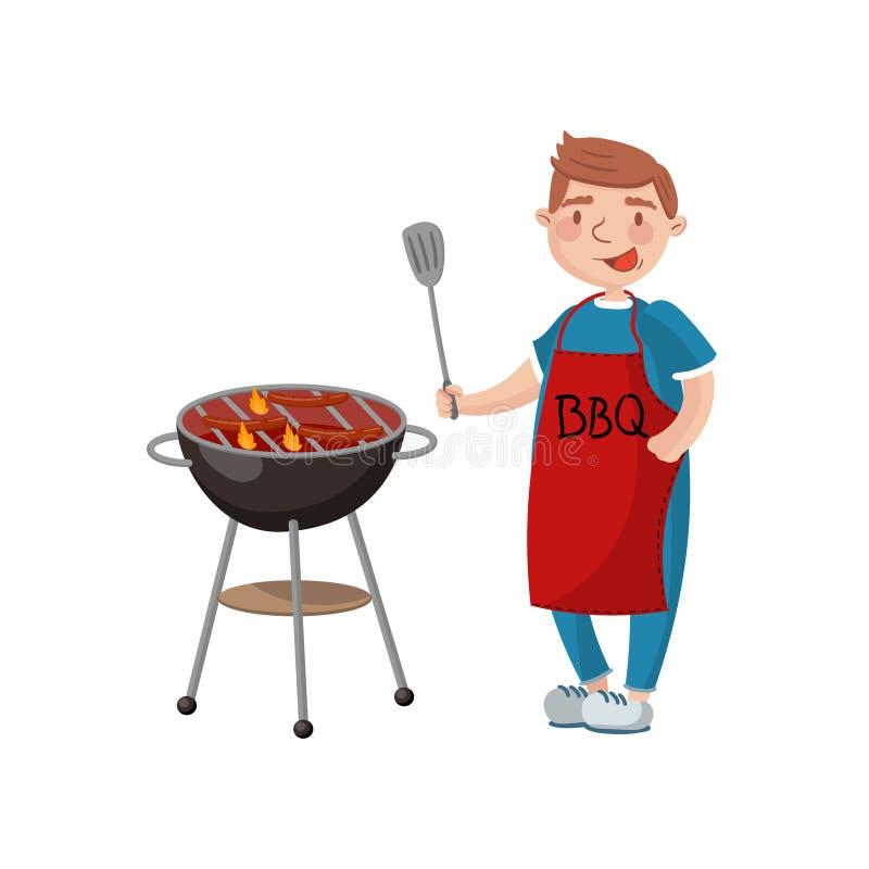 Hombre joven que cocina la carne en el ejemplo del vector de la historieta de la parrilla de la barbacoa stock de ilustración