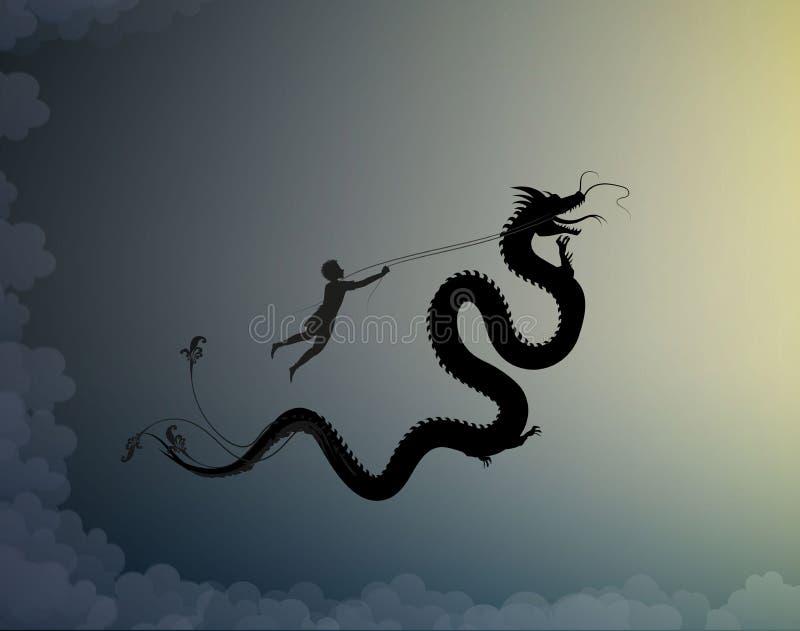 Hombre joven que coge el dragón de hadas y que lo sostiene en el hilo, batalla en el cielo con el dragón, escena del ilustración del vector