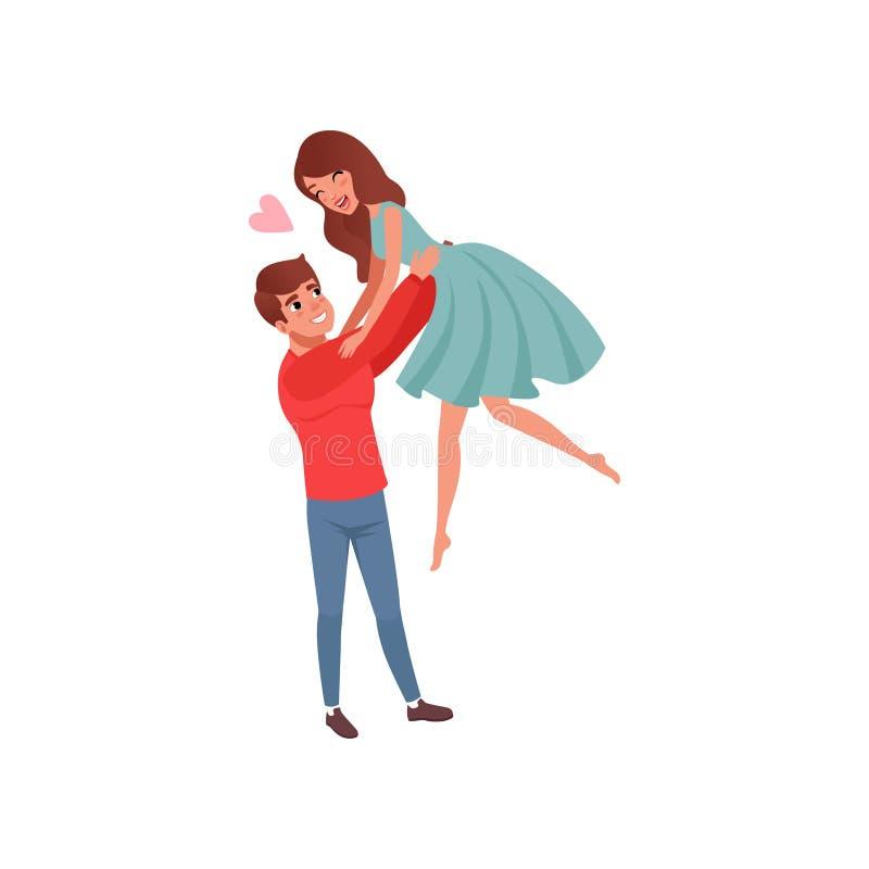 Hombre joven que detiene a su novia por la cintura, educándola para arriba, pares cariñosos románticos felices en vector de la hi libre illustration