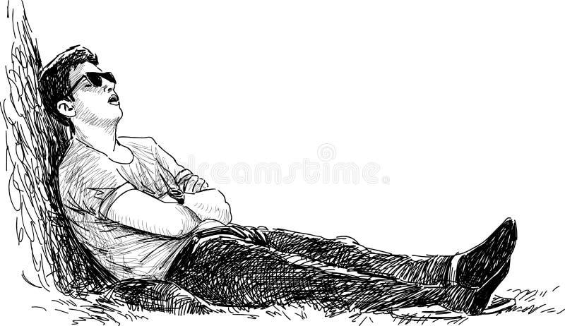 Hombre joven que duerme en el parque ilustración del vector
