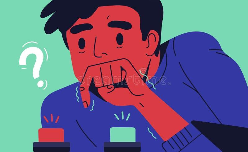 Hombre joven que elige el botón para empujar Concepto de opción difícil entre dos opciones, alternativas u oportunidades, vida ilustración del vector