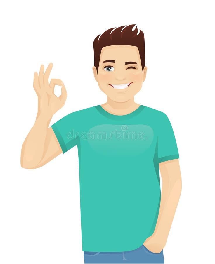 Hombre joven que gesticula la muestra ACEPTABLE libre illustration