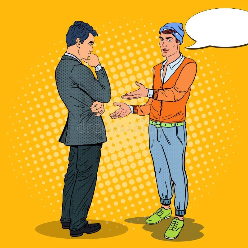 Hombre joven que habla con el hombre de negocios Ejemplo del arte pop libre illustration