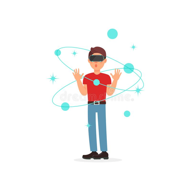 Hombre joven que juega al videojuego del espacio en la realidad virtual con las auriculares de VR, vector cibernético del concept ilustración del vector