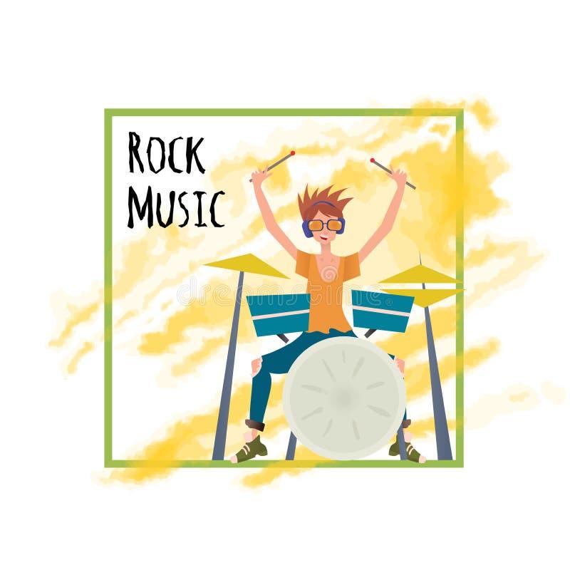 Hombre joven que juega el sistema del tambor Batería, músico Vector el ejemplo, plantilla del cartel, aislada en el fondo blanco libre illustration