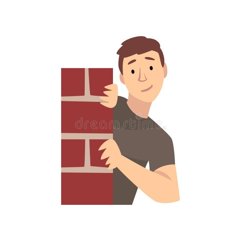 Hombre joven que mira de detrás la esquina del ejemplo del vector de la historieta de la pared de ladrillo libre illustration